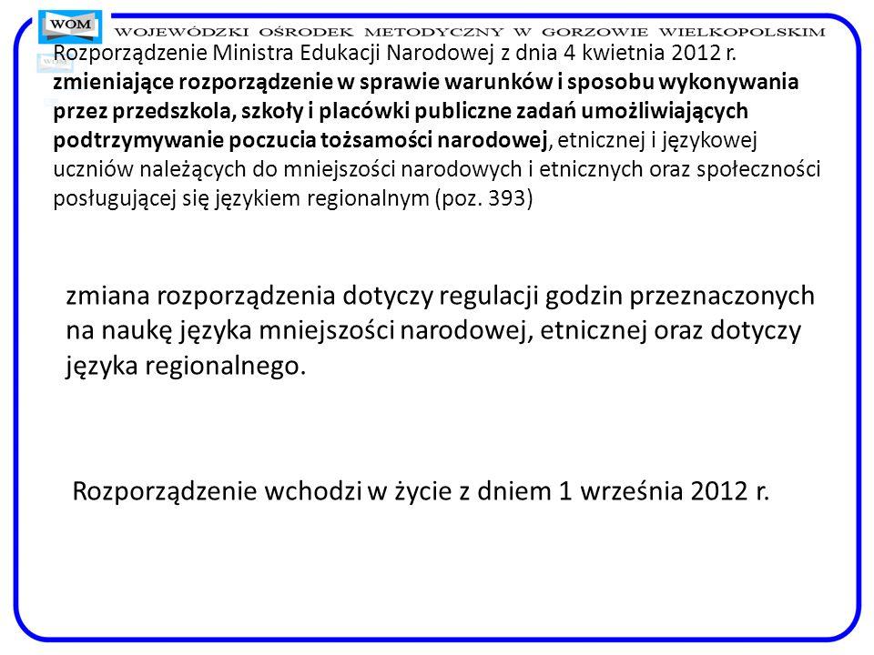 Rozporządzenie Ministra Edukacji Narodowej z dnia 4 kwietnia 2012 r