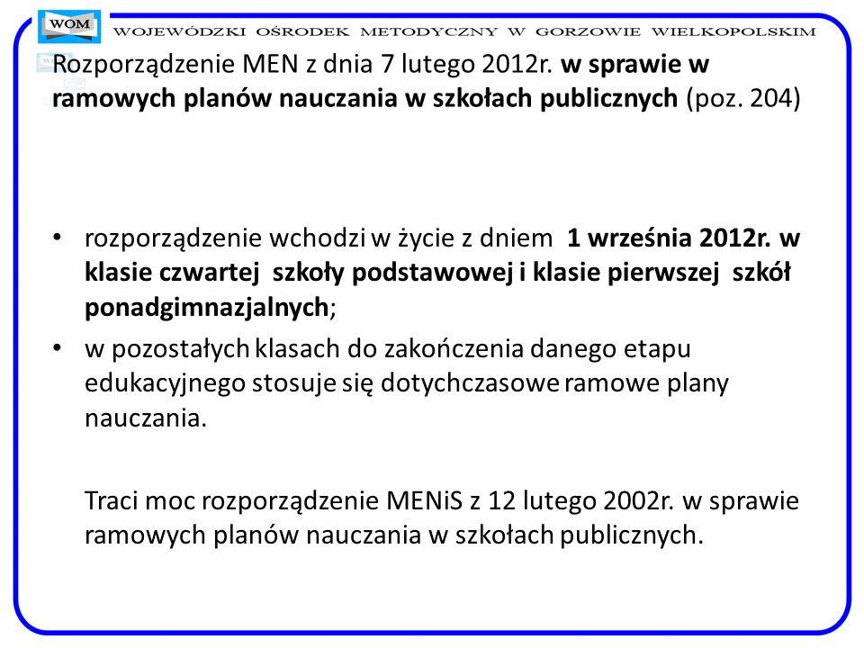 Rozporządzenie MEN z dnia 7 lutego 2012r