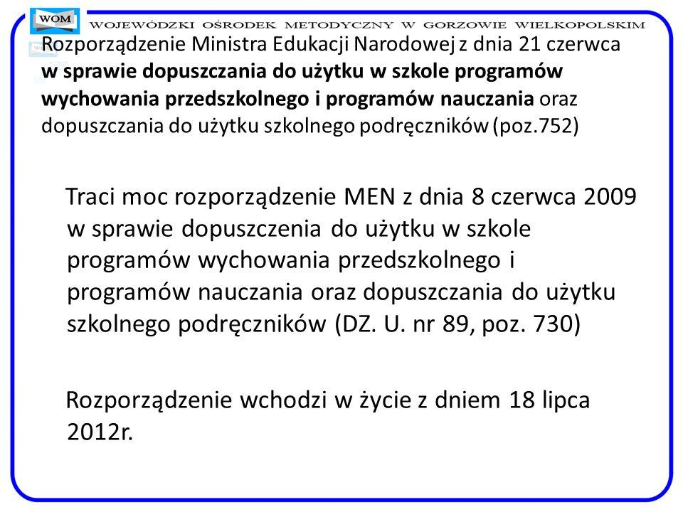 Rozporządzenie wchodzi w życie z dniem 18 lipca 2012r.