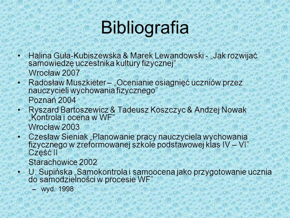 """Bibliografia Halina Guła-Kubiszewska & Marek Lewandowski - """"Jak rozwijać samowiedzę uczestnika kultury fizycznej"""