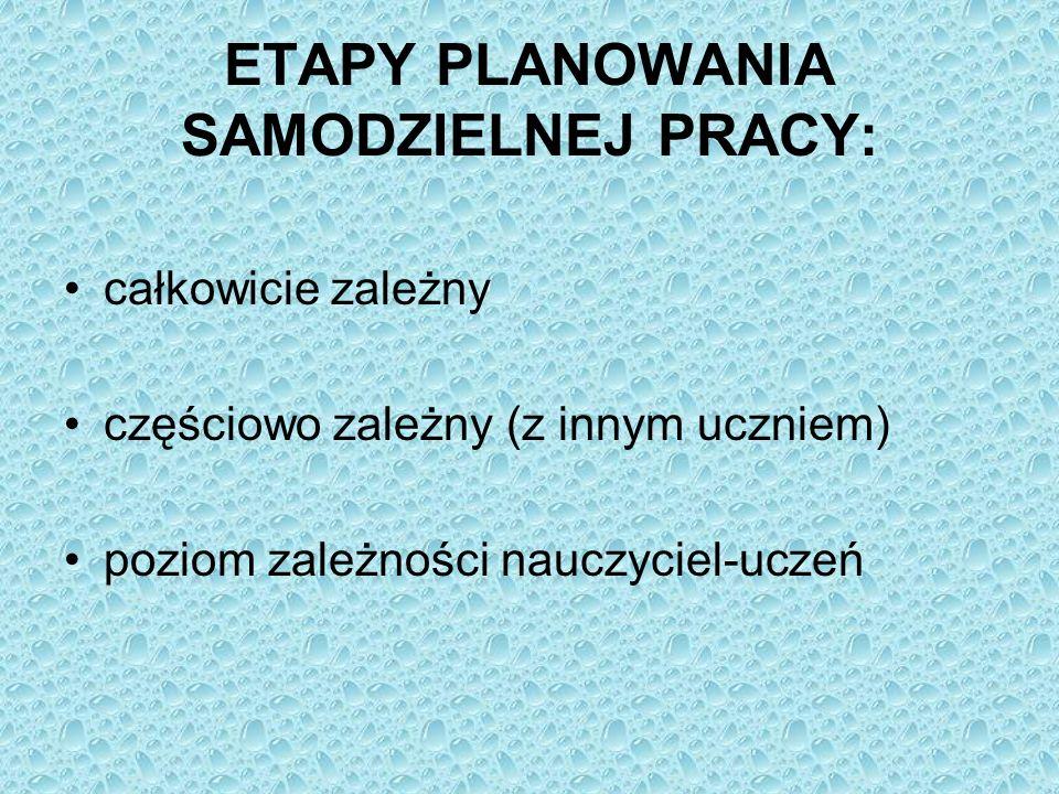 ETAPY PLANOWANIA SAMODZIELNEJ PRACY: