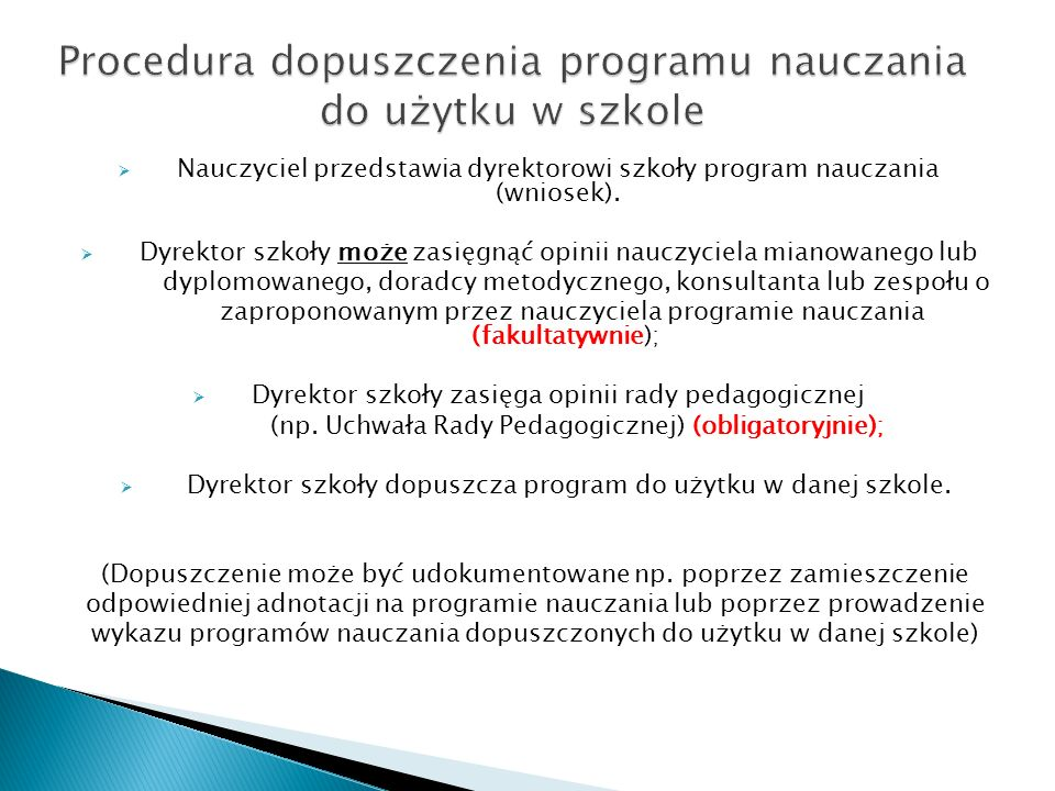 Procedura dopuszczenia programu nauczania do użytku w szkole