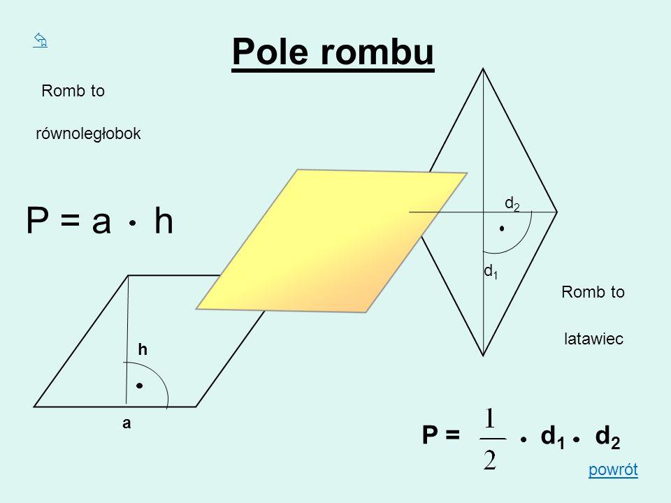Pole rombu P = a h P = d1 d2  Romb to równoległobok d2 d1 Romb to