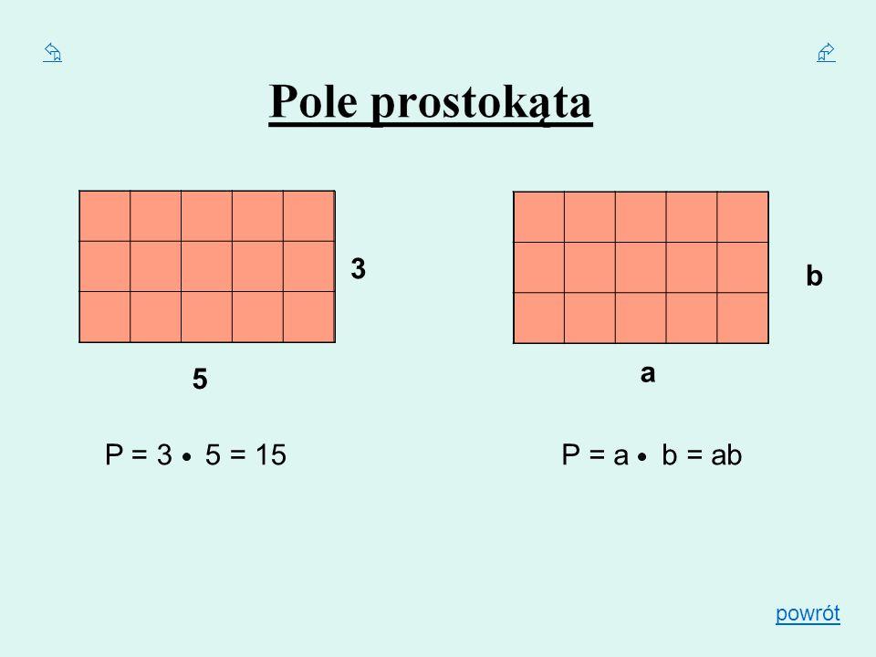   3 b a 5 P = 3 5 = 15 P = a b = ab powrót