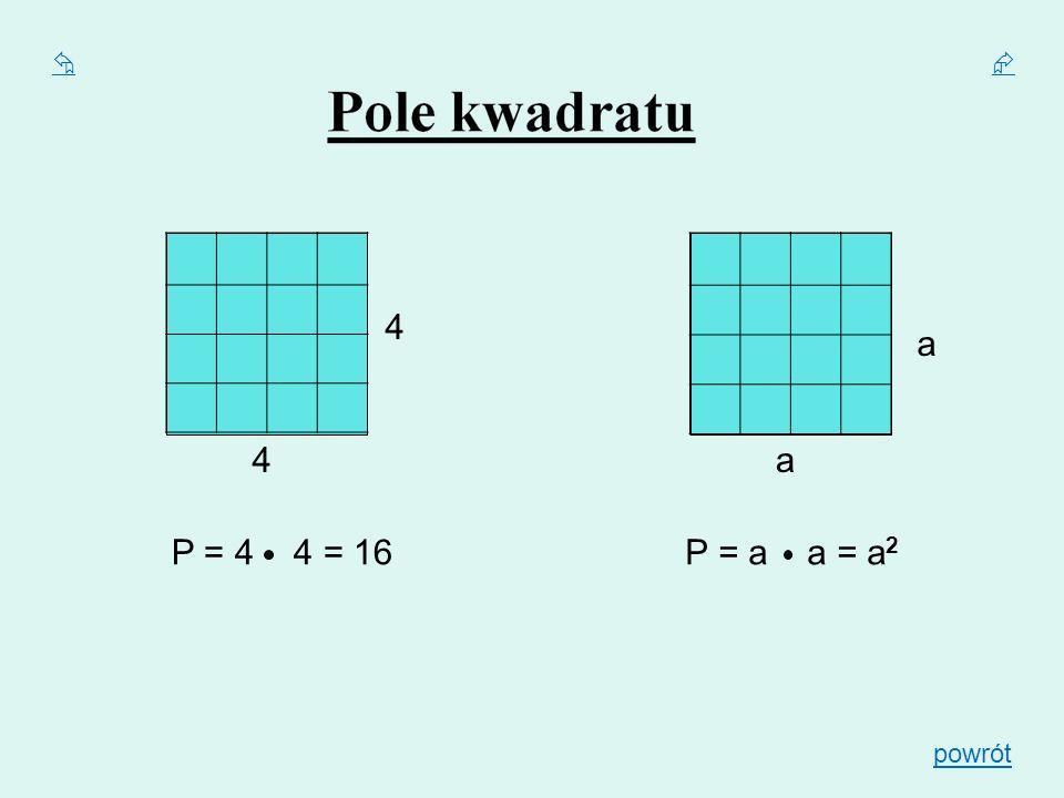   4 a 4 a P = 4 4 = 16 P = a a = a2 powrót