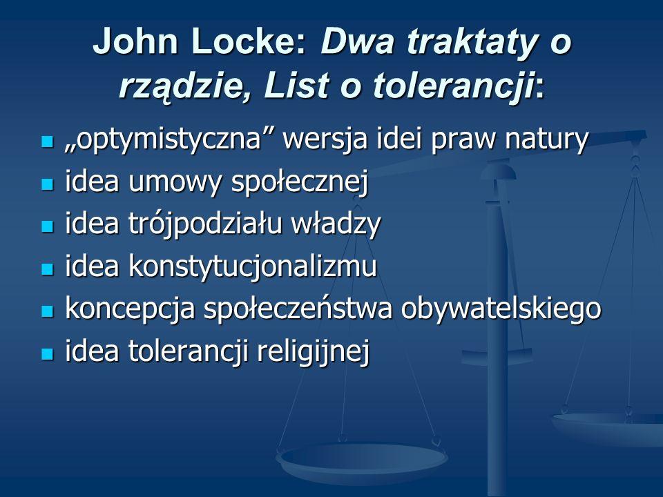 John Locke: Dwa traktaty o rządzie, List o tolerancji: