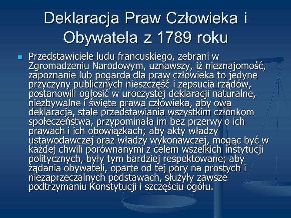 Deklaracja Praw Człowieka i Obywatela z 1789 roku