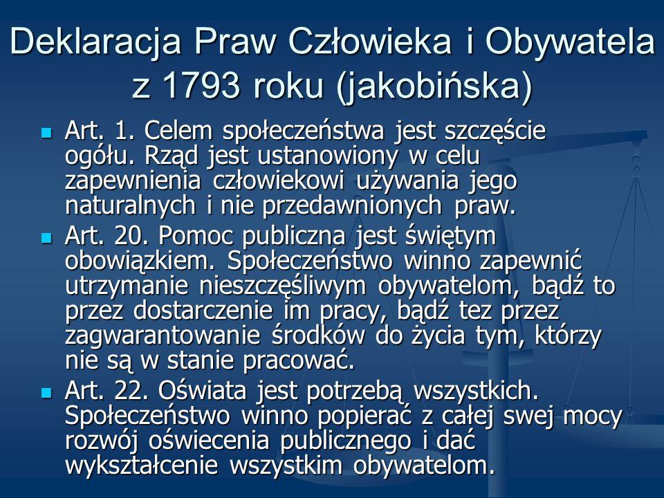 Deklaracja Praw Człowieka i Obywatela z 1793 roku (jakobińska)