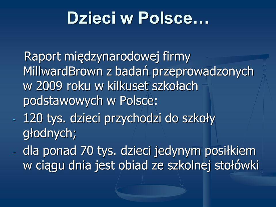 Dzieci w Polsce… Raport międzynarodowej firmy MillwardBrown z badań przeprowadzonych w 2009 roku w kilkuset szkołach podstawowych w Polsce: