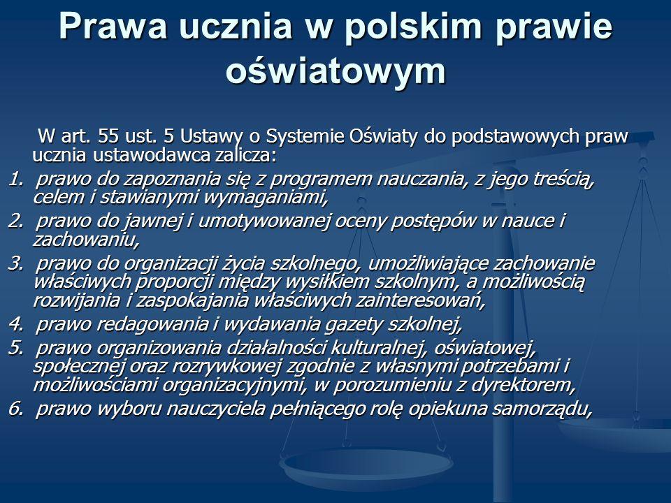 Prawa ucznia w polskim prawie oświatowym