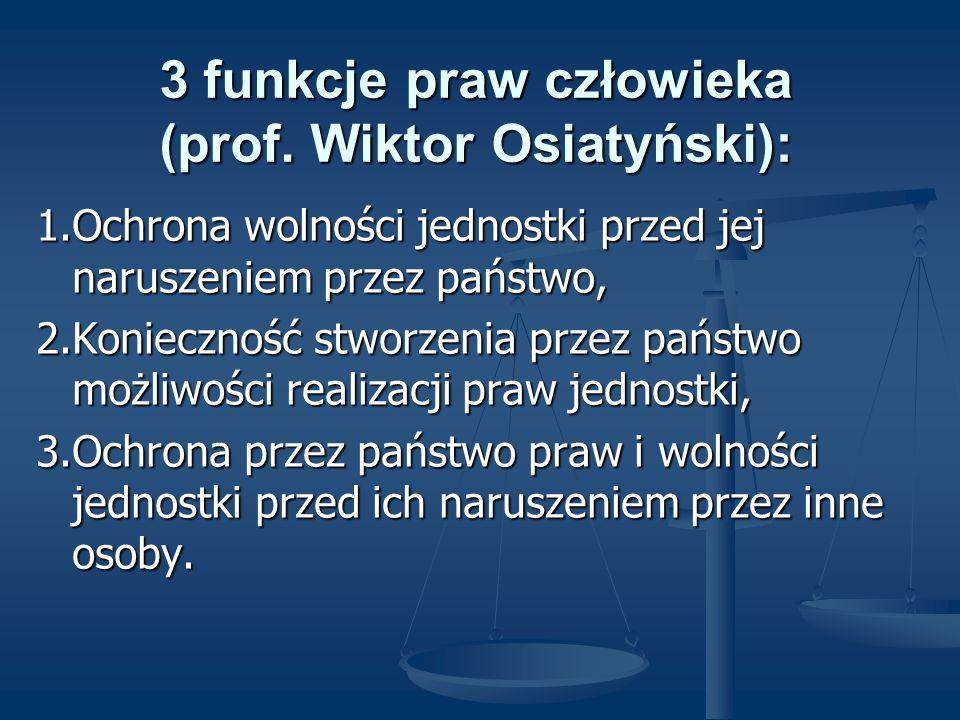 3 funkcje praw człowieka (prof. Wiktor Osiatyński):