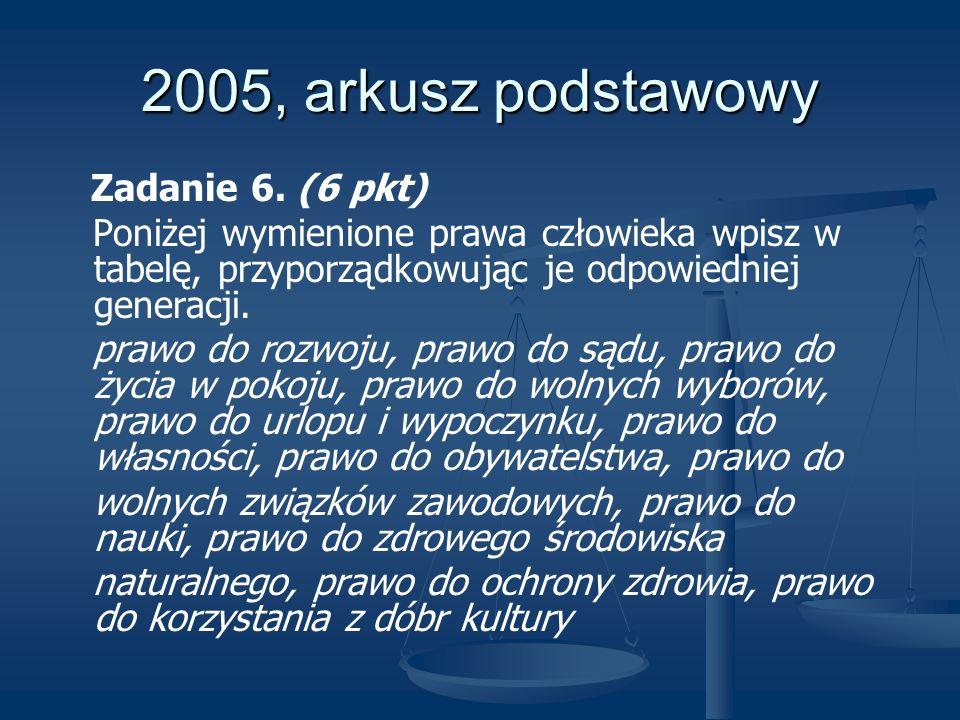 2005, arkusz podstawowy Zadanie 6. (6 pkt)