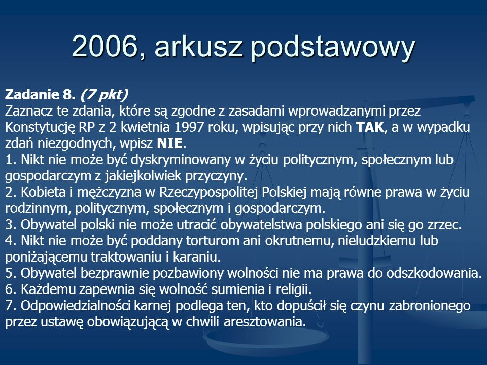 2006, arkusz podstawowy Zadanie 8. (7 pkt)