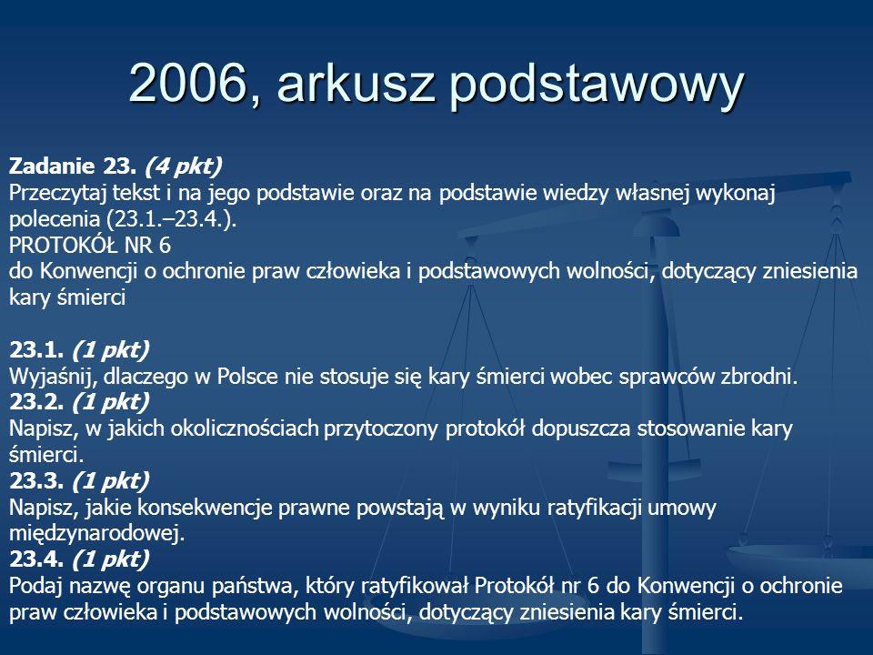 2006, arkusz podstawowy Zadanie 23. (4 pkt)