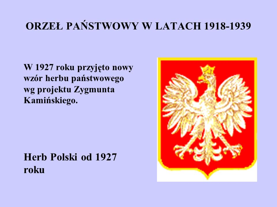 ORZEŁ PAŃSTWOWY W LATACH 1918-1939