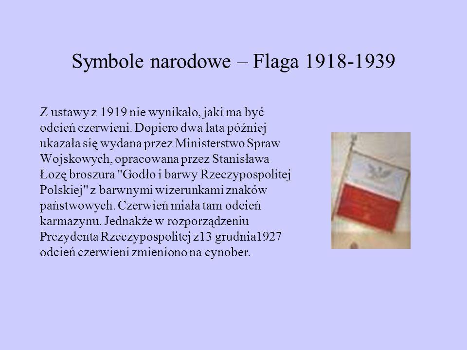 Symbole narodowe – Flaga 1918-1939