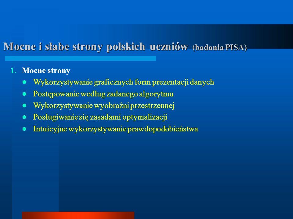Mocne i słabe strony polskich uczniów (badania PISA)
