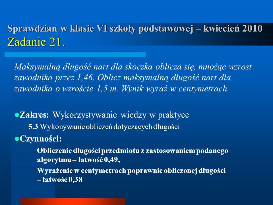 Sprawdzian w klasie VI szkoły podstawowej – kwiecień 2010 Zadanie 21.