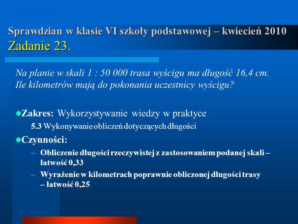 Sprawdzian w klasie VI szkoły podstawowej – kwiecień 2010 Zadanie 23.