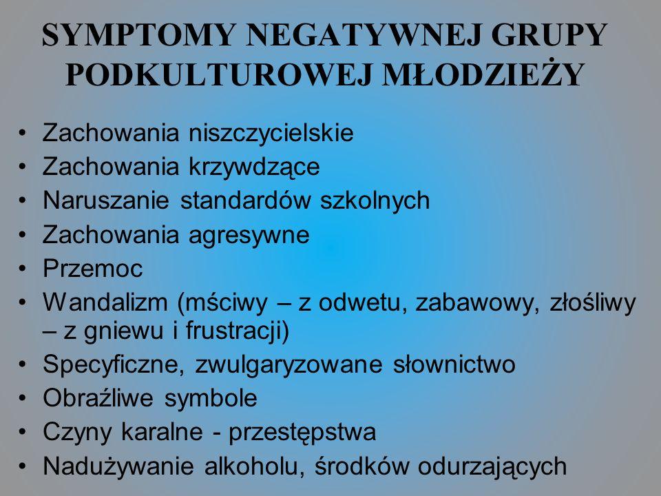 SYMPTOMY NEGATYWNEJ GRUPY PODKULTUROWEJ MŁODZIEŻY
