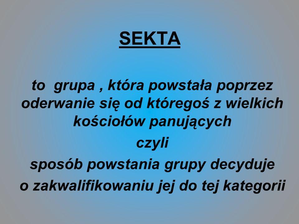 SEKTA to grupa , która powstała poprzez oderwanie się od któregoś z wielkich kościołów panujących.