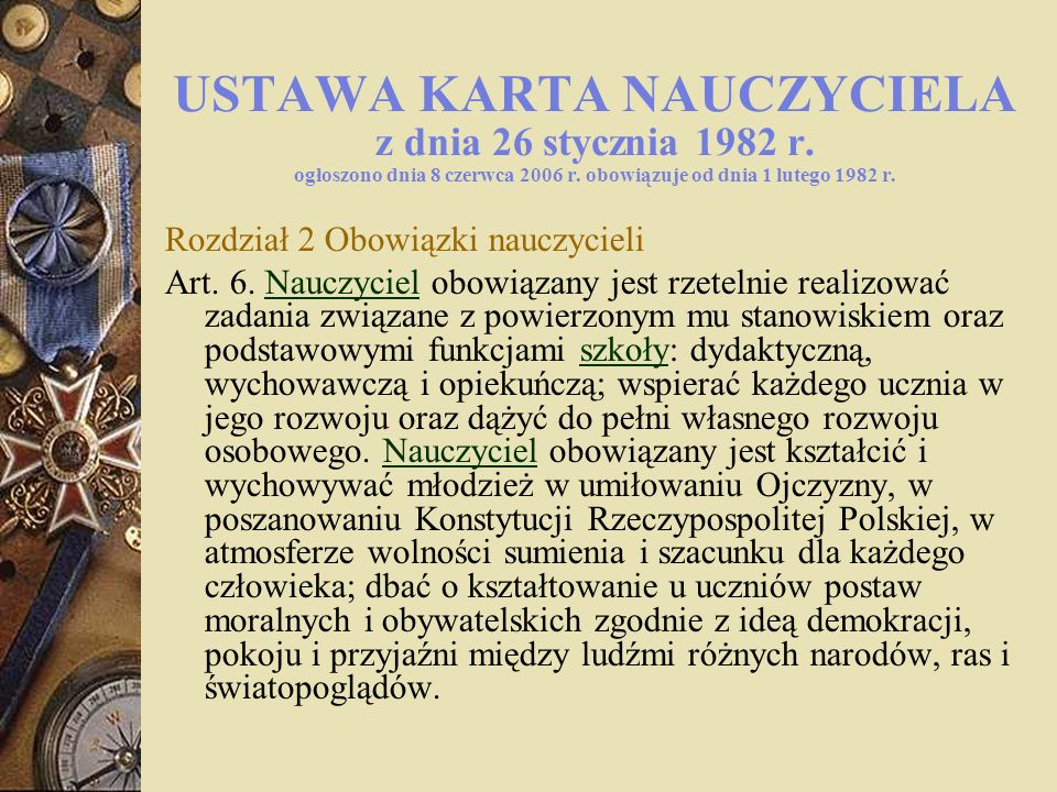 USTAWA KARTA NAUCZYCIELA z dnia 26 stycznia 1982 r