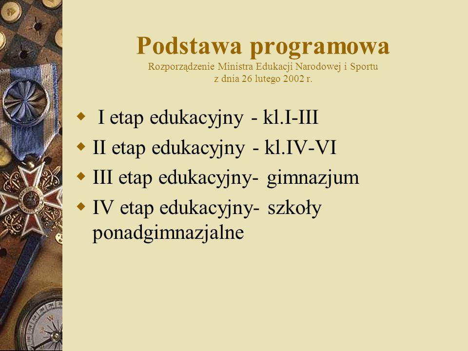 Podstawa programowa Rozporządzenie Ministra Edukacji Narodowej i Sportu z dnia 26 lutego 2002 r.