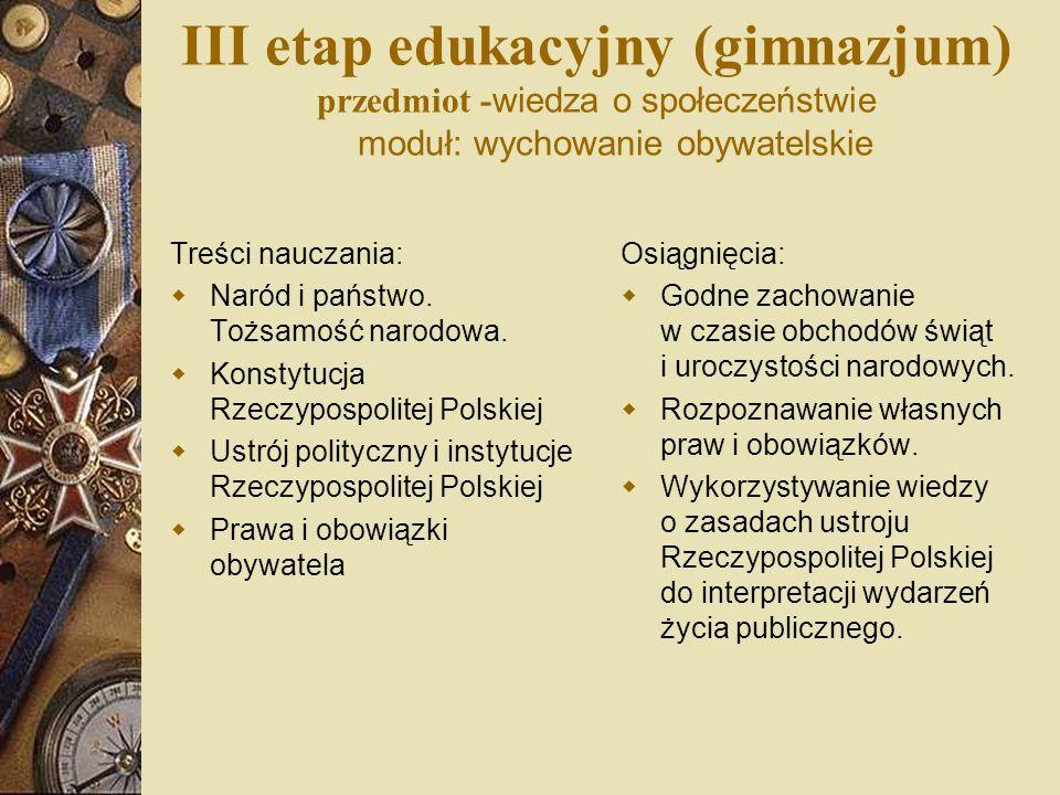 III etap edukacyjny (gimnazjum) przedmiot -wiedza o społeczeństwie moduł: wychowanie obywatelskie