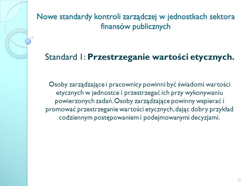 Standard 1: Przestrzeganie wartości etycznych.