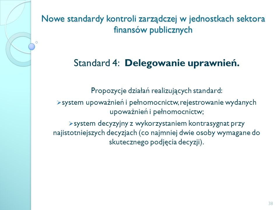 Standard 4: Delegowanie uprawnień.