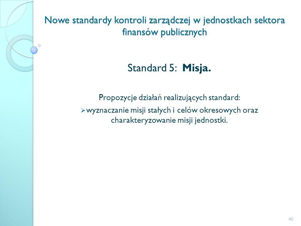 Propozycje działań realizujących standard: