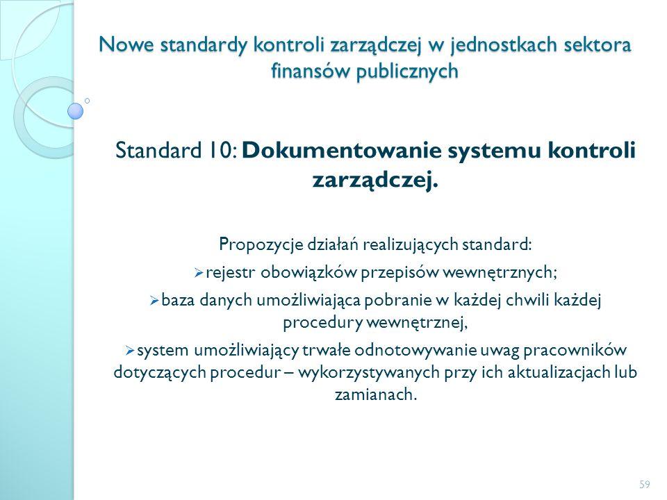Standard 10: Dokumentowanie systemu kontroli zarządczej.