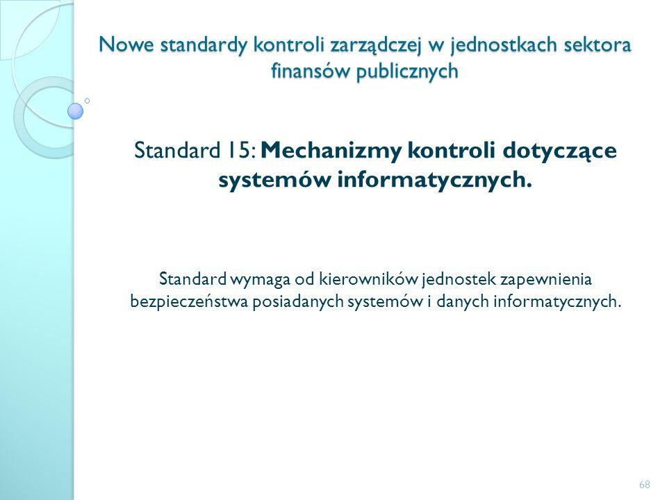 Standard 15: Mechanizmy kontroli dotyczące systemów informatycznych.