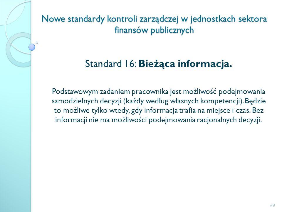 Standard 16: Bieżąca informacja.