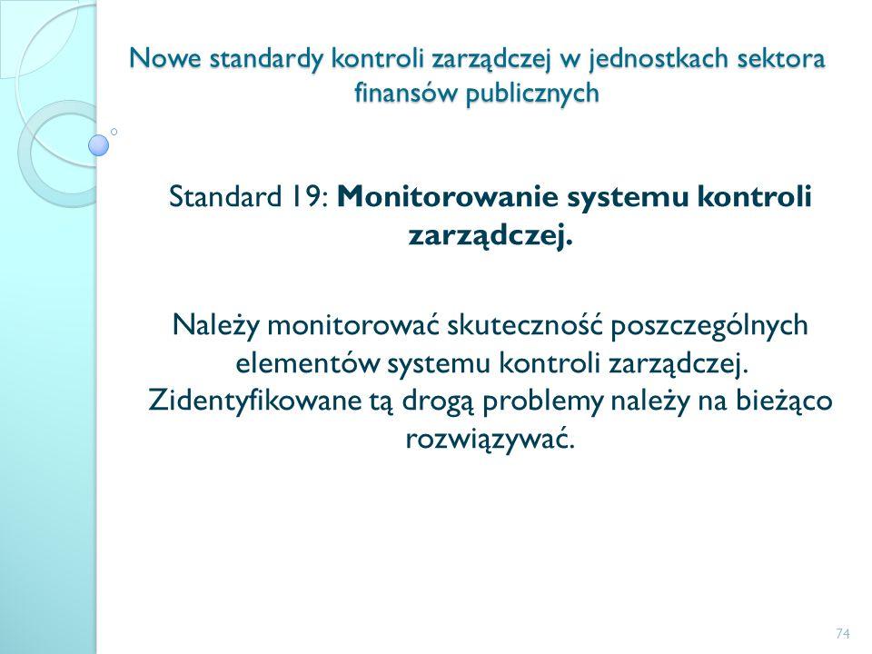 Standard 19: Monitorowanie systemu kontroli zarządczej.
