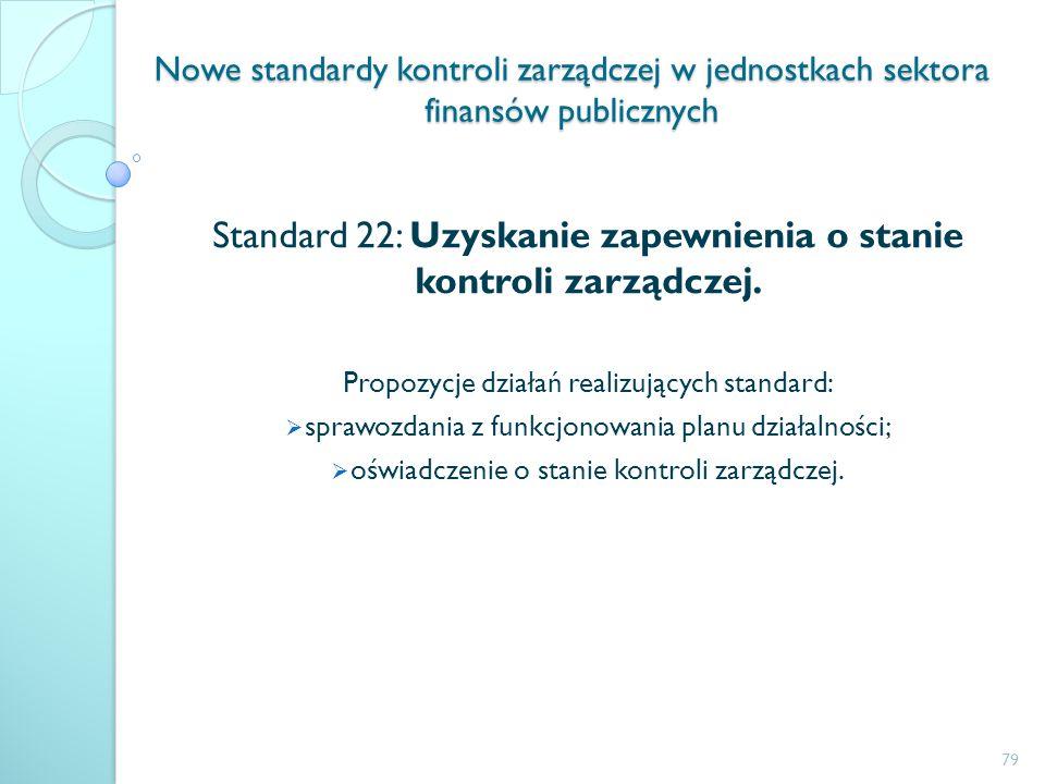 Standard 22: Uzyskanie zapewnienia o stanie kontroli zarządczej.