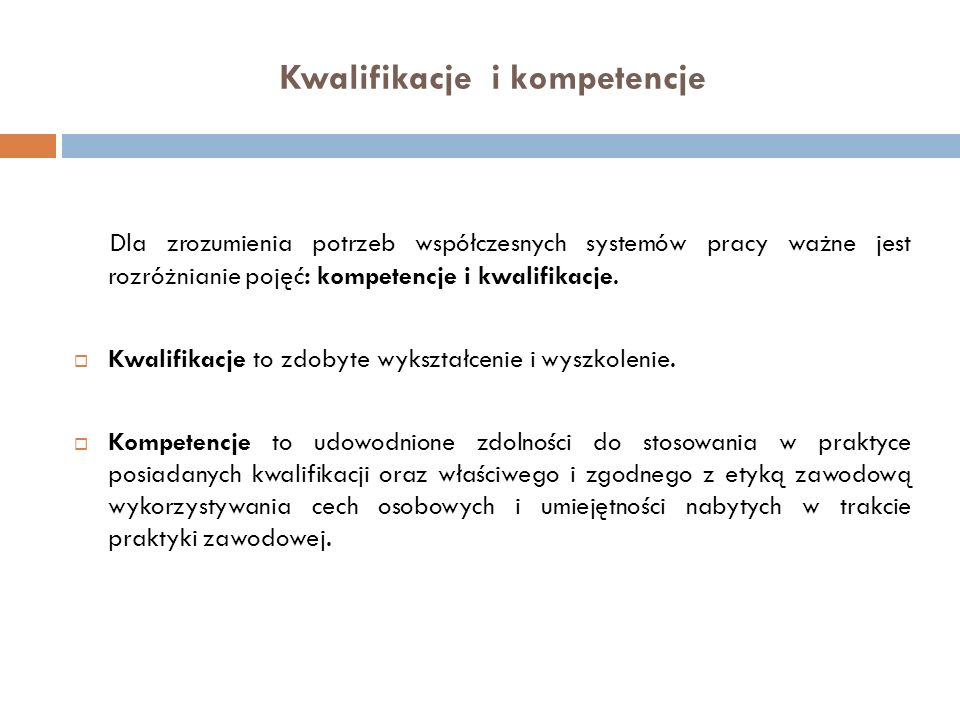 Kwalifikacje i kompetencje