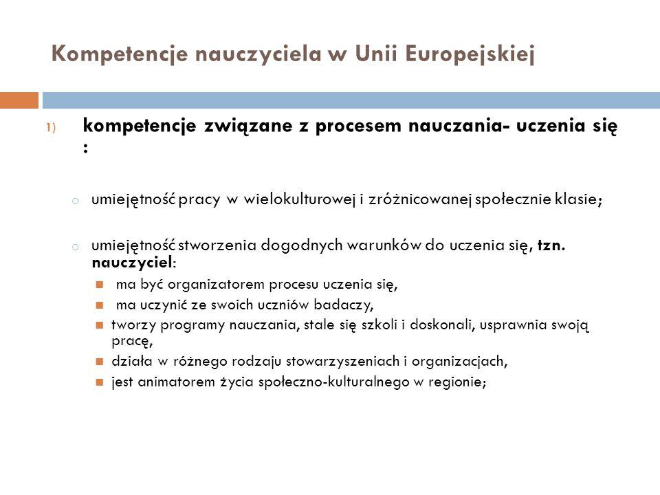 Kompetencje nauczyciela w Unii Europejskiej