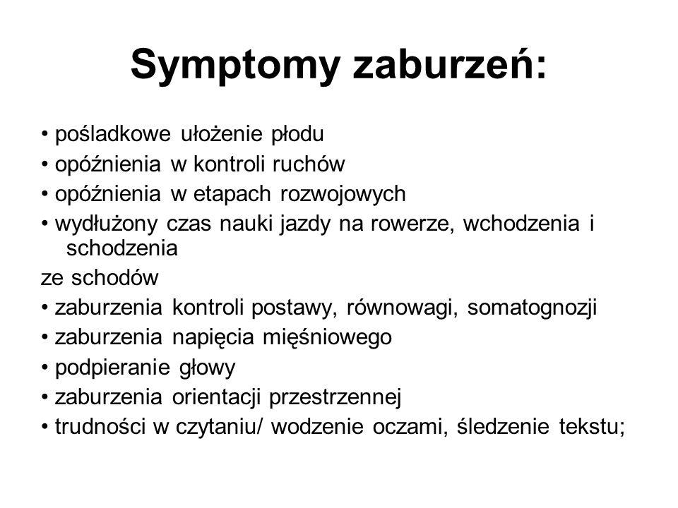Symptomy zaburzeń: • pośladkowe ułożenie płodu