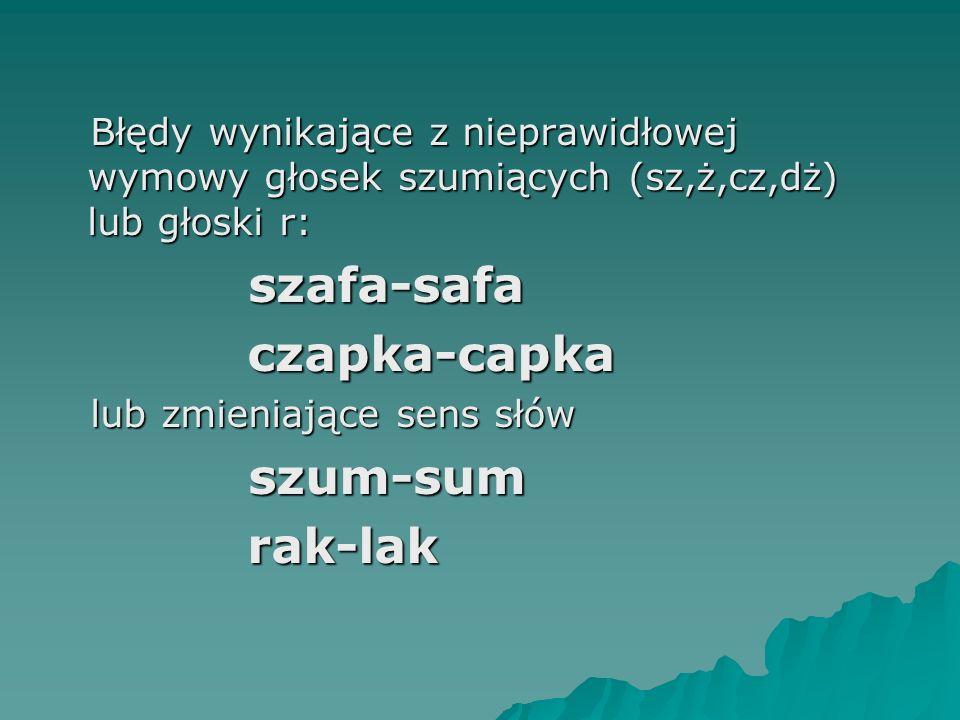 Błędy wynikające z nieprawidłowej wymowy głosek szumiących (sz,ż,cz,dż) lub głoski r: