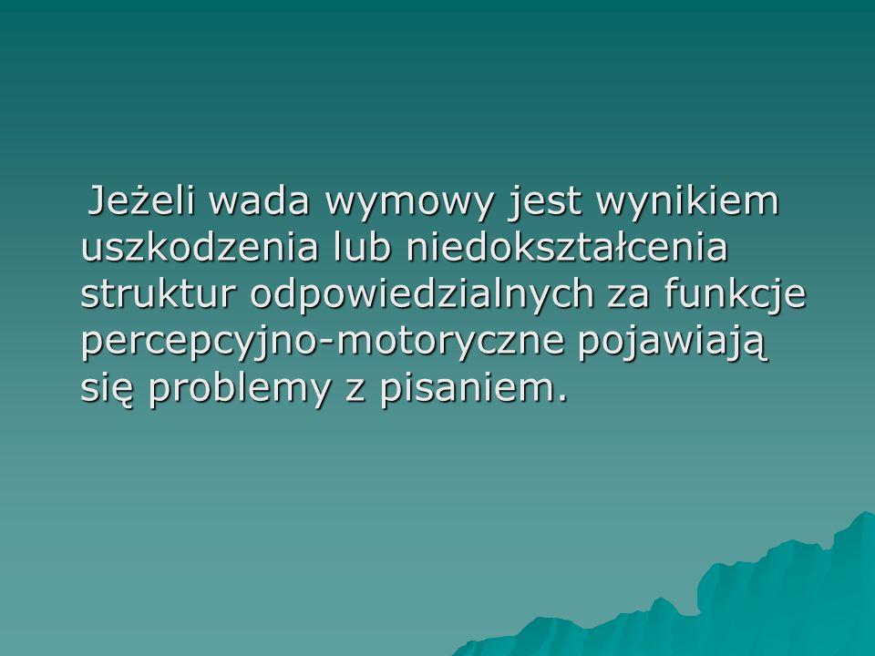 Jeżeli wada wymowy jest wynikiem uszkodzenia lub niedokształcenia struktur odpowiedzialnych za funkcje percepcyjno-motoryczne pojawiają się problemy z pisaniem.