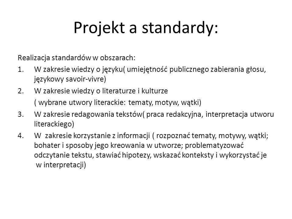 Projekt a standardy: Realizacja standardów w obszarach: