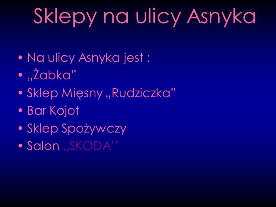 """Sklepy na ulicy Asnyka Na ulicy Asnyka jest : """"Żabka"""