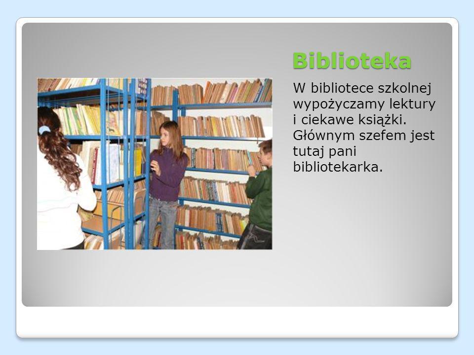 Biblioteka W bibliotece szkolnej wypożyczamy lektury i ciekawe książki.
