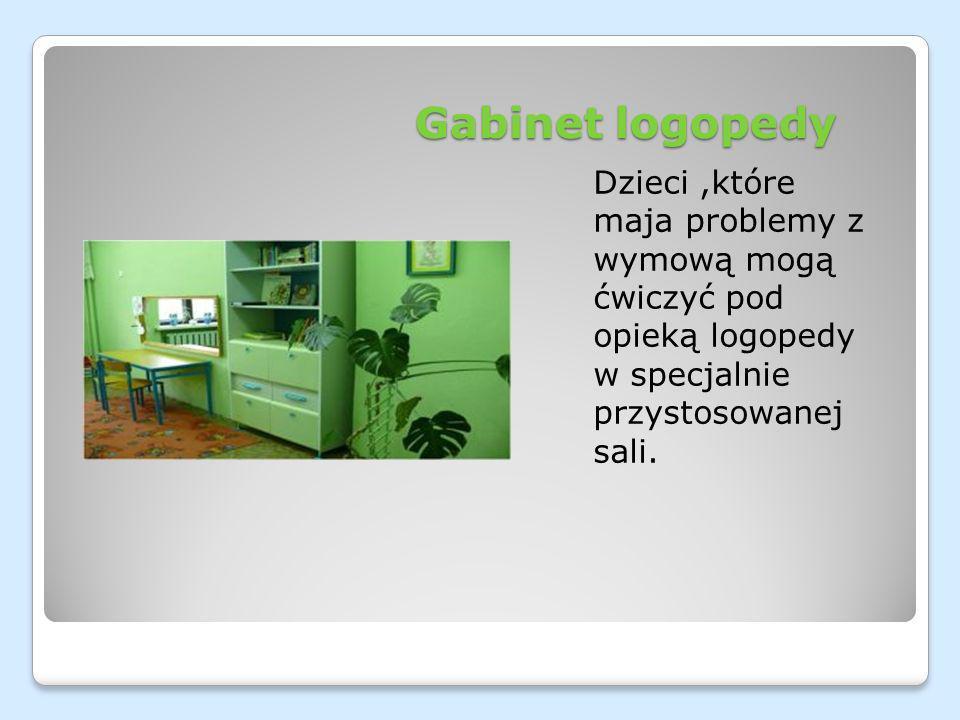 Gabinet logopedy Dzieci ,które maja problemy z wymową mogą ćwiczyć pod opieką logopedy w specjalnie przystosowanej sali.
