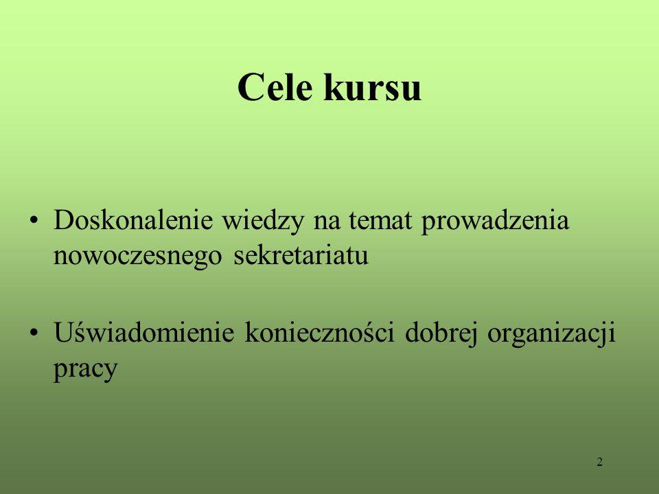Cele kursu Doskonalenie wiedzy na temat prowadzenia nowoczesnego sekretariatu.