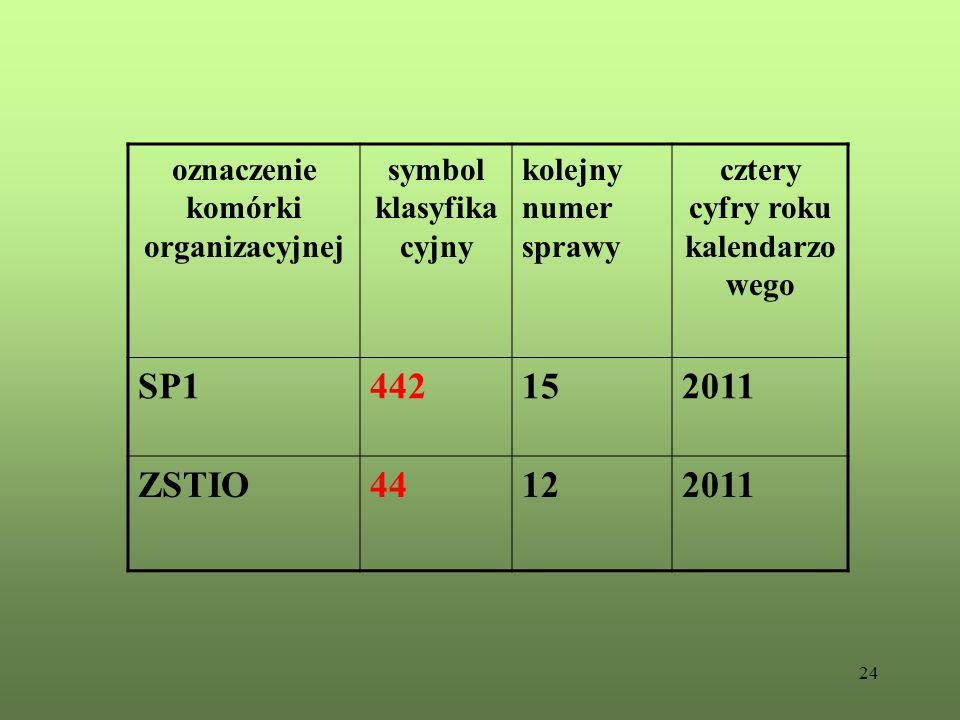 SP1 442 15 2011 ZSTIO 44 12 oznaczenie komórki organizacyjnej