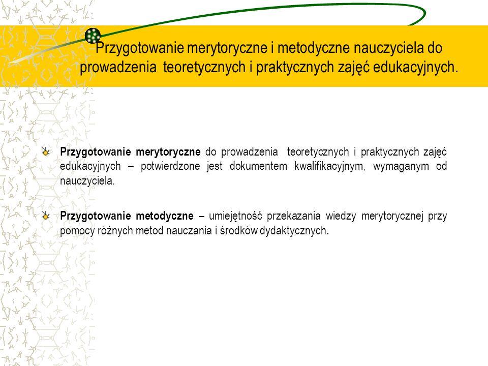 Przygotowanie merytoryczne i metodyczne nauczyciela do prowadzenia teoretycznych i praktycznych zajęć edukacyjnych.