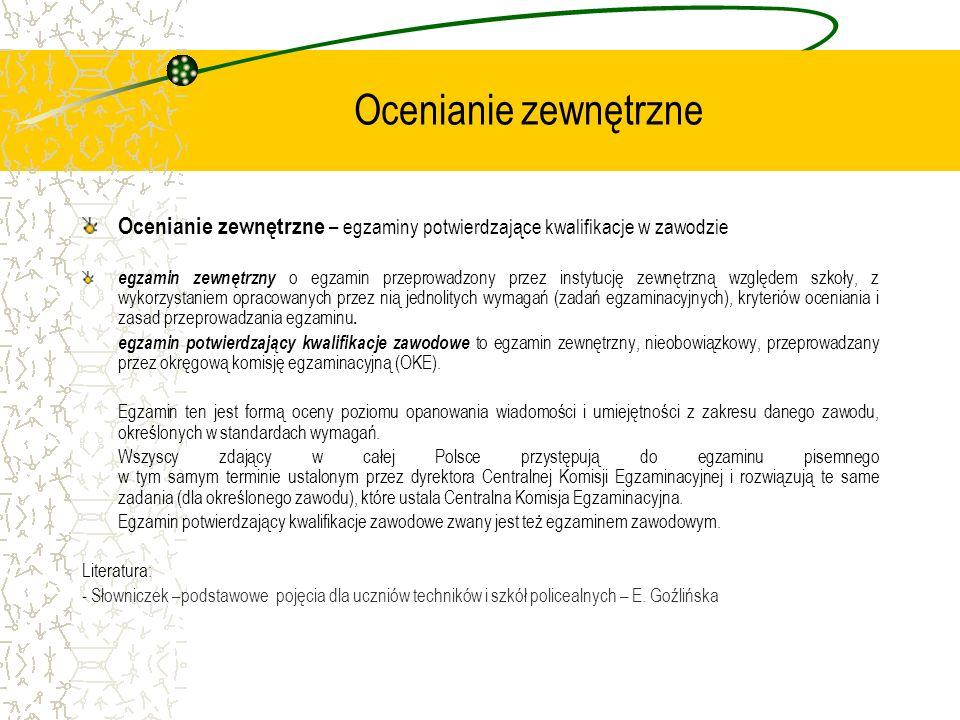 Ocenianie zewnętrzne Ocenianie zewnętrzne – egzaminy potwierdzające kwalifikacje w zawodzie.