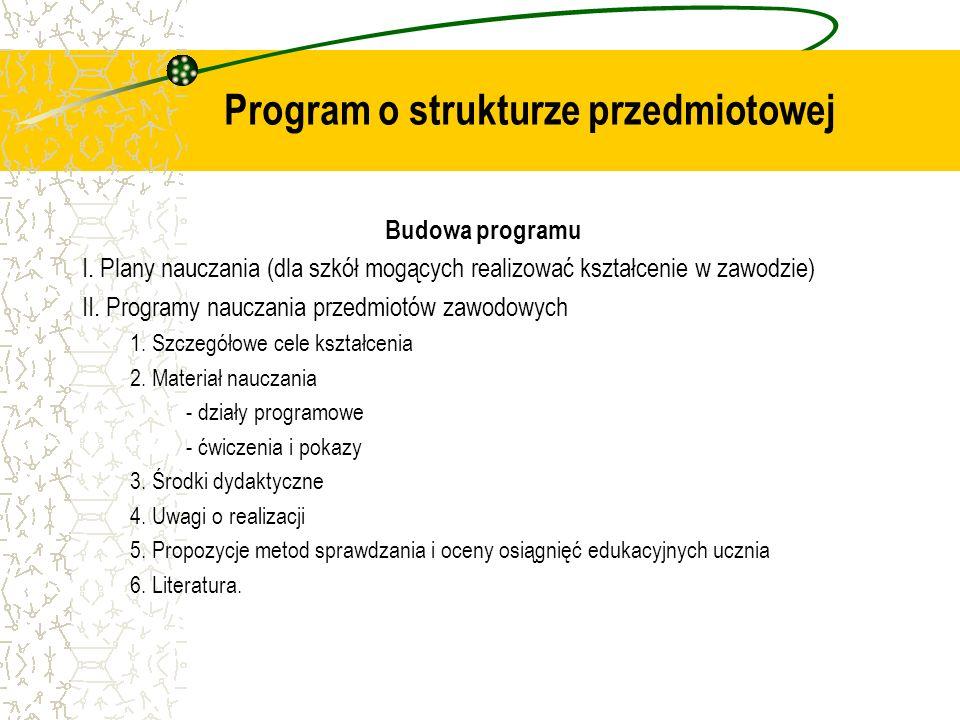 Program o strukturze przedmiotowej